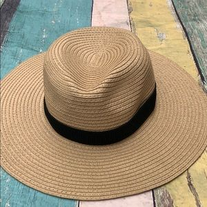 Madewell Woven Hat Natural With Black Band NWOT